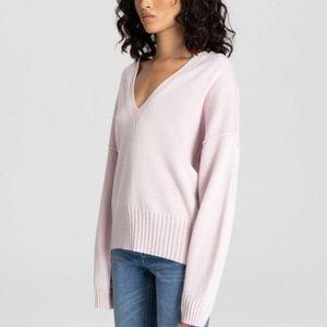 A.L.C blush pink wool oversized sweater ribbed hem NWT women's size L